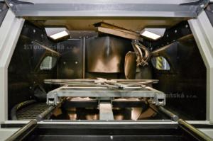 interior of a blast cabinet