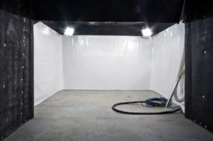 iew inside the blasting room for corundum blasting