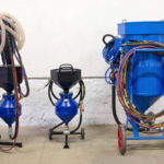 mobile pneumatic sandblast units of various sizes