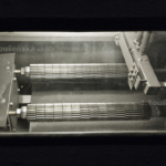 the process of shot peening can be followed through the top viewing window
