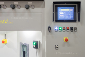 control panel on a carousel blast cabinet with  touch screen