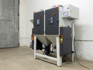 tumble blasting cabinet with pneumatic unloading system by using push buttons
